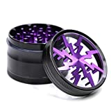 4 Piece 2.5' Aluminum Lightning Pattern Clear Top Herb Grinder (Purple)
