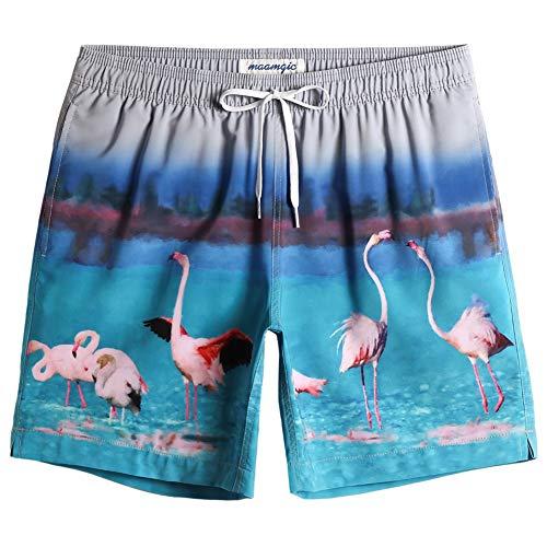 MaaMgic Bañador Hombre de Natación Estiramiento de 4 vías Secado Rápido Interior de Malla Traje de Baño Deportivos 4-Way Stretch, Flamingo Gris Azul,L