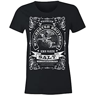 Ladies Winchester Brothers Demon Warding Salt T Shirt (Black , Large)