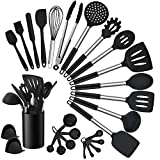 Homikit 27 Pieces Silicone Cooking Utensils Set with Holder, Kitchen Utensil Sets for Nonstick Cookware, Black Kitchen Tools Spatula with Stainless Steel Handle, Heat Resistant