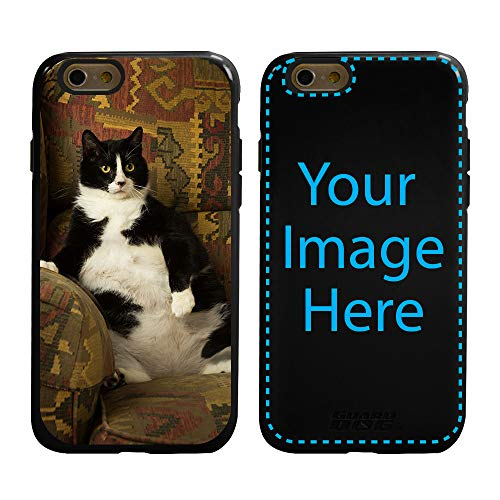 Custom Cat Cases for iPhone 6 / 6s by Guard Dog - Personalized - Put Your Kitty on a Protective Hybrid Phone Case. (Black, Black)