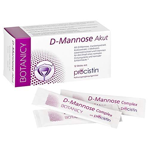 D-MANNOSE Akut Pulver Sticks mit Cranberry zur Unterstützung gegen Blasenentzündung & Harnwegsinfekte, 12 Stück