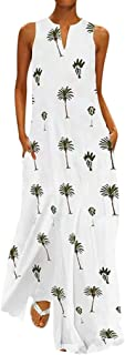 Long Linen Dresses for Women Casual Summer with Pockets Elegant Sleeveless Print Maxi Dresses Plus Size Holiday Dress