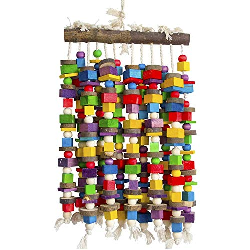 DELOKEY Large Bird Parrot Chewing Toy - Multicolored Natural Wooden Blocks Bird Tearing Toys Suggested for Macaws cokatoos,African Grey and a Variety of Amazon Parrots(X- Large)