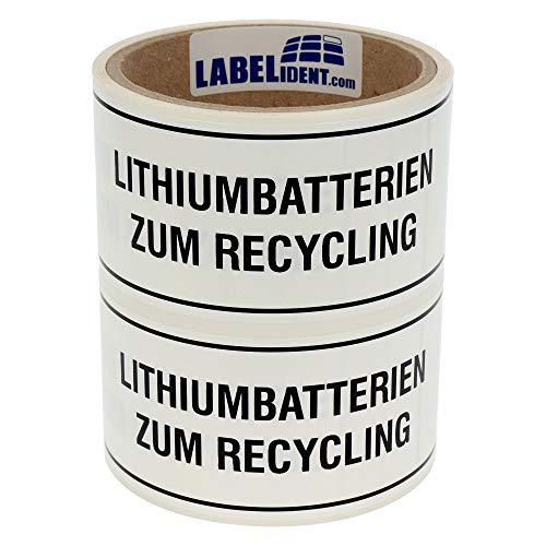Labelident Transportaufkleber - Lithium-Batterien Lithiumbatterien zum Recycling - 150 x 50 mm - 100 Batterie Aufkleber auf 76 mm (3 Zoll) Rolle, Akku Etiketten