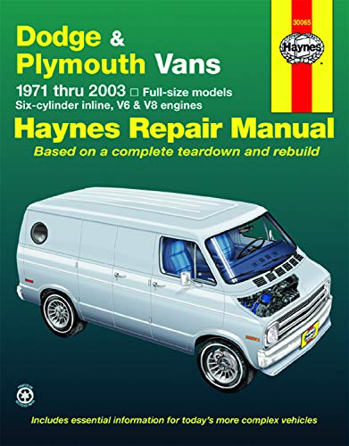 Dodge Tradesman, Sportsman & Plymouth Voyager Full-size in-line 6, V6 & V8 Vans (71-03) Haynes Repair Manual (Does not include information specific to CNG models) (Haynes Manuals)