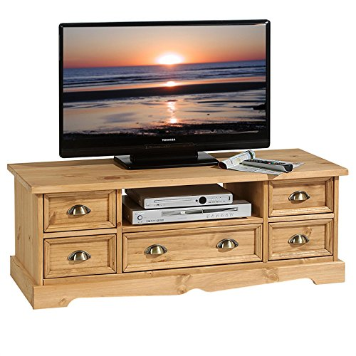 IDIMEX Mexiko TV Lowboard im Mexico Möbel Stil, Kiefer massiv, gebeizt gewachst, Landhausstil, Rack Fernsehtisch Schrank Fernsehschrank Bank Sideboard Tisch