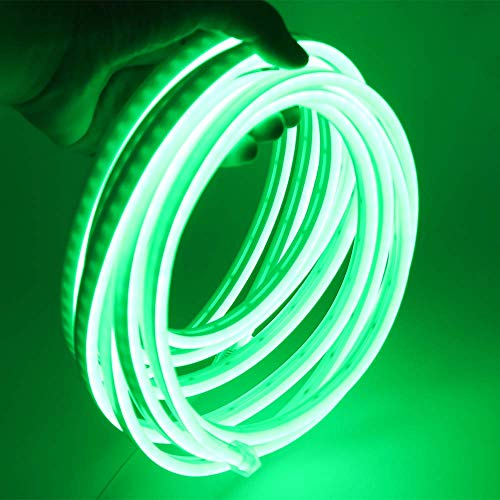 XUNATA 12V Flexible LED Neon Verde, 5m Impermeable 2835 Tira de LED Strip Light, Luz de la Cuerda para Exterior Fiestas Decoración Party Sign Publicidad Firmar