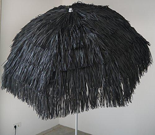 Maffei Sonnenschirm Kenya Bastschirm Ø 200cm Raffia 8 Streben & Stahlknicker schwarz