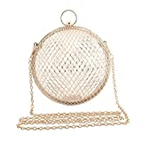 LETODE Women's Personality Features Geometric Evening Bag Shoulder Horizontal Bag, Clutch Cage Bag (GOLD)