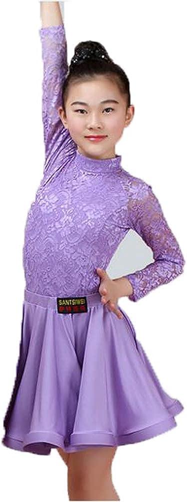 Girls Latin Dance Skirts Ballroom Dance Tango Skirts Children's lace Latin Dance Split Dresses Leotards and Skirts