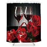 Duschvorhang, Rot / Schwarz / Rose / Weinrot, Blume, romantisch, romantisch, Valentinstag, französischer Stil, Stoff, wasserdicht, 183 x 183 cm, 12 Kunststoffhaken