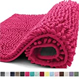 Kangaroo Plush Luxury Chenille Bath Rug, 24x17, Extra Soft and Absorbent Shaggy Bathroom Mat Rugs, Washable, Strong Underside, Plush Carpet Mats for Kids Tub, Shower, Bathtub and Bath Room, Hot Pink