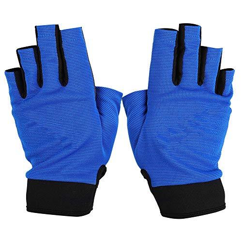 BOODUN Paire De Gants De Pêche Demi-doigt Protection Des Mains Respirante Et Résistante Au Soleil Pour Le Kayak En Plein Air Randonnée Bleu XL