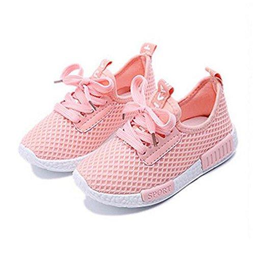 Daclay Zapatos niños Niñas Deportivo Transpirable Malla con Parte Superior de Cuero cómoda Suave Cordones Zapatillas Sneakers (36 EU,Rosa)