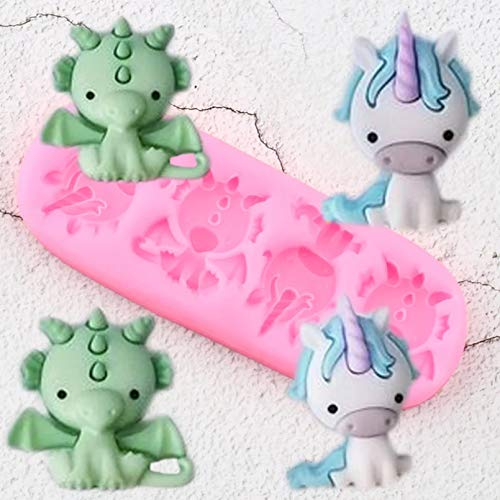 SUNSK Unicorn Dragon Silicone Molds Cupcake Topper Baby Birthday Cake Decorating Tools Diy Baking Candy Clay Chocolate Moulds