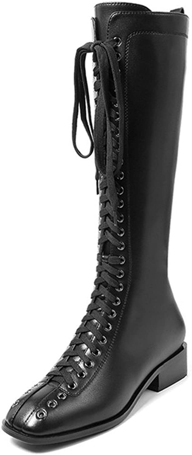 Nine Seven Genuine Leather Women's Square Toe Block Heel Lace Up Sexy Handmade Fashion Knee High Boots
