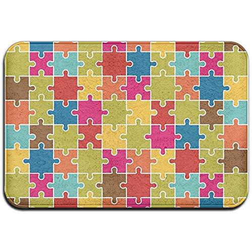 qinzuisp gebied tapijt puzzel stukjes icoon patroon kleurrijke standaard garage voordeur matten veranda outdoor huis binnen bad mat ingang tapijt rubber tapijt 40X60Cm welkom