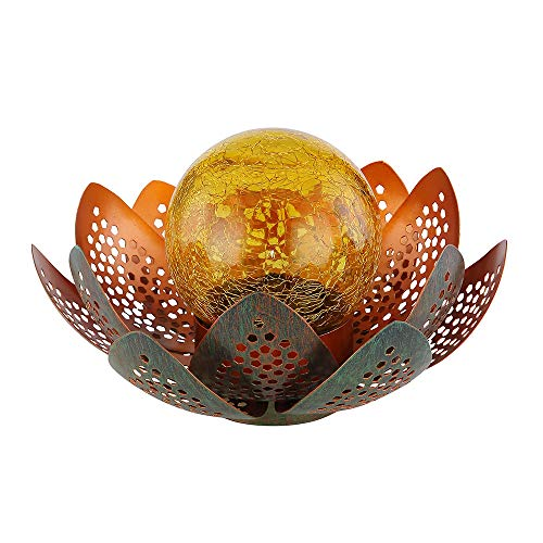 LED Garten Solar Lampe Tisch Leuchte Lotus Blume Deko Beleuchtung Balkon Hof Leuchte grün GOLD