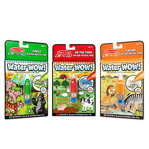 Melissa & Doug On the Go Water Wow! Reusable Color with Water Activity Pad 3-Pack, Jungle, Safari, Farm