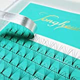 Tonghe Russian Volumes Eyelash Extensions 12 Rows/Tray 5D Thickness 0.10 mm D Curl 11mm Length Short Stem Pre made Fans Lashes Professional Semi Permanent False Eyelashes