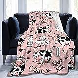 Manta de tiro suave con estampado de leche de vaca y animales divertidos, manta de lana de franela cálida y ligera para sofá cama, sofá, viaje, camping, para niños y adultos 80x60 Inches(200X150cm)