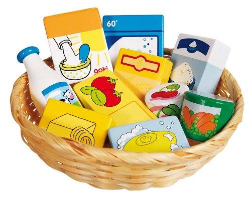 Goki 51713 Kaufladen Miniaturen,Lebensmittel und Haushaltswaren im Korb