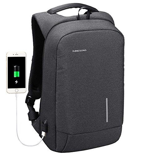 Kingsons Lightweight Traveling Laptop Backpack, Slim Business Travel Computer Bag with USB Charging Port Anti-Theft Water Resistant for 15.6-Inch Laptop Rucksack (Dark Grey)