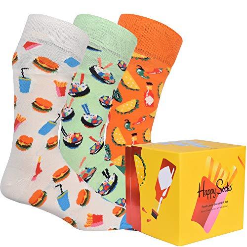 Happy Socks Food Lover Socks Gift Set 3-Pack farbenfrohe und verspielte Geschenkboxen für Männer und Frauen, Premium-Baumwollsocken, 3-Paare,Größe 41-46