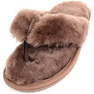 Ladies Toe-Post Flipflop Style Sheepskin Slippers in Sizes UK 3-9, Mink(8):Masterpola