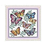 Punto de cruz Set Las mariposas coloridas Patrones kit de Animales del estilo DIY de trabajo hecho a mano de la costura de punto de cruz Impreso sobre lienzo bordado ( Color : 14CT stamped product )