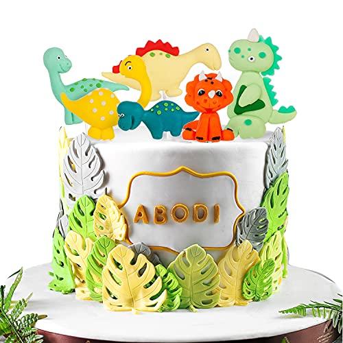 6 pièces figurines en sucre décoration de gâteau de dinosaure garçon d'anniversaire, gâteau dino cupcake topper cake topper cure-dents pour gâteaux enfants bébé garçons décoration de fête