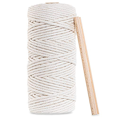 DICAY Macrame Yarn 3 mm x 100 m with 2 Wooden Sticks – Colour: Natural – 100% Cotton Yarn – Cord Cotton with E-Book for Beginners with DIY to Tapestry Boho + Feather Boho