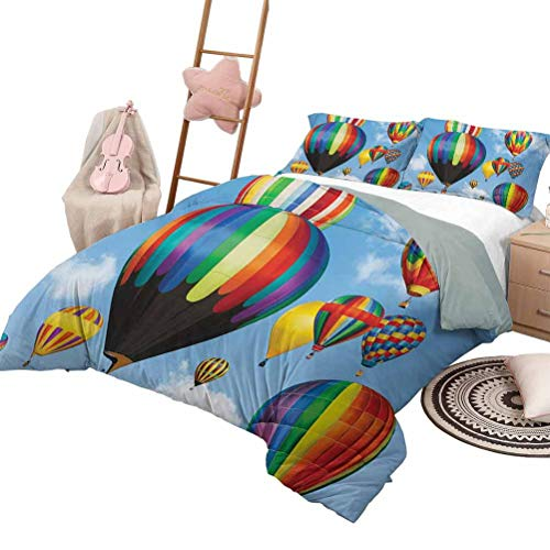 DayDayFun 3 Piece Bedding Sets Colorful Custom Bedding Machine Washable Hot Air Balloons Flying in The Sky Air Sports Adventure Journey Fun Entertainment King Size Multicolor