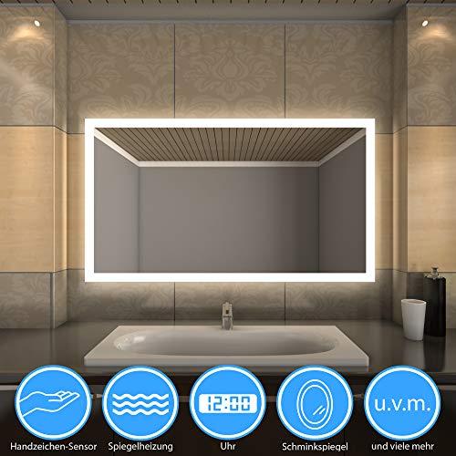 Spiegel Deutschland – Hope LED Badspiegel nach Maß, Viele Zusatzoptionen wie Touch Sensor, Beschlagfrei, Uhr, Badezimmerspiegel LED, Badspiegel mit Beleuchtung - (Breite: 100 cm x Höhe: 70 cm)