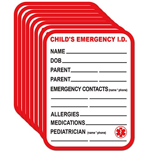 Remarkable Infant I.C.E. (in Case of Emergency) Car Seat Sticker Safety Information - Child Emergency Contact Car Seat Safety Alert Attachment Tag Stickers (8 Pack)