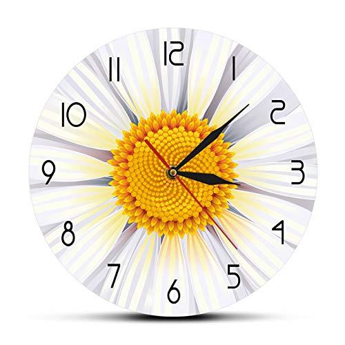 yage Flor Blanca Manzanilla Reloj de Pared Crisantemo Flor Arte de la Pared Sala de Estar Movimiento silencioso Reloj de Pared Redondo Decoración de Pared de manzanilla