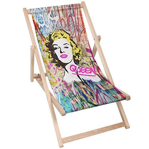 Moderne Liegestuhl Sonnenliege Klappbar Gartenliege Rückenlehne verstellbar leicht klappbar Garten Balkon Strand Outdoor Holzklappstühle Naturholz Lounger (1, Queen Marilyn)