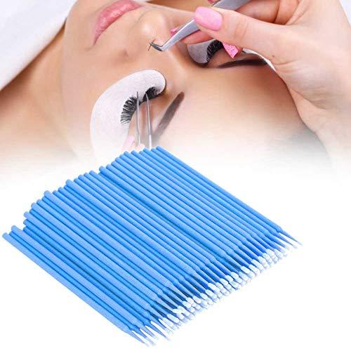 Micro brosses jetables, mascara 200pcs Faux Cils Remover Extension de cils jetables Micro Brush Applicators, pour la transplantation d'extensions de cils(bleu)