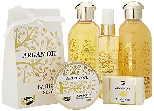 GLoss - Coffret De Bain Pour Femme - Pot de bain en métal incluant un spray corporel - Collection Luxury Argan Oil - Huile Argan