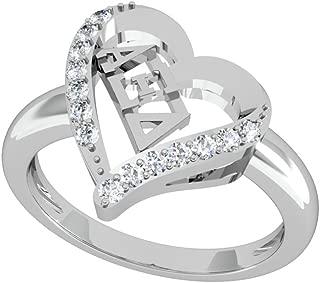 Alpha Xi Delta Heart Silver Ring