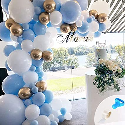 onehous Balloon Arch Kit Blue and White, 124 pcs Blue White Gold Balloon Garland Kit with White Gold Latex Cnfetti Balloons 16ft Tape Strip for Birthday Wedding Party Decorations