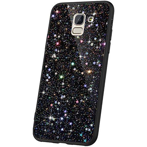 JAWSEU Compatible avec Samsung Galaxy J6 2018 Coque Silicone Paillette,Cristal Clair étoile Brillant Bling Glitter Housse Etui Slim Transparente TPU Souple Gel Strass Case Femme Fille,Noir*