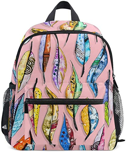 NB UUD Mini Backpack Oil Painting Bohemian Feather Daily Backpack for Travel