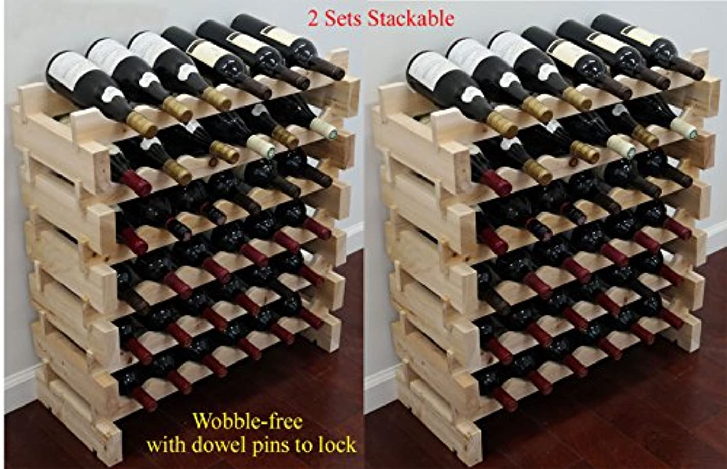 DisplayGifts Stackable Storage Wine Rack Stand, Wobble-Free, 72 Bottle Capacity, 6 X 12 Row
