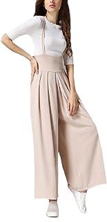 0392b63d1b95 CuteRose Womens Overalls Pure Color Cotton Linen Wide Leg Jumpsuit Pants