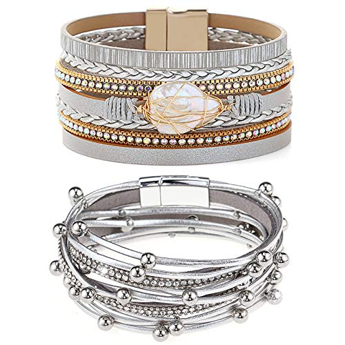 Gleamart 2 Pieces Multilayer Leather Bracelet Set Beads Wrap Bangles with Magnetic Buckle for Women 01