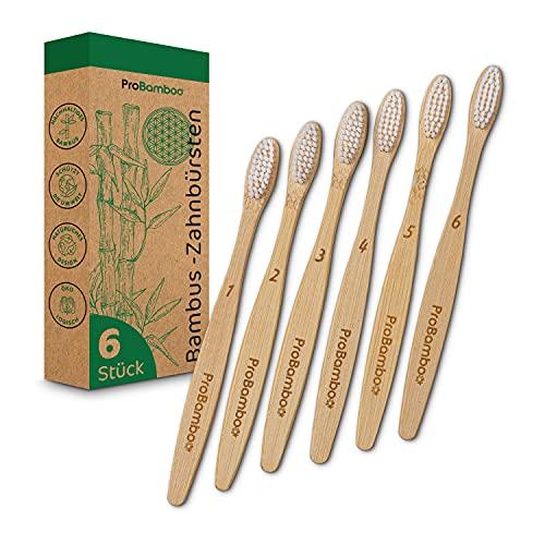 ProBamboo | Bambus Zahnbürsten – 6 Nachhaltige Zahnbürste Bambus - 100% BPA-frei – langlebige, natürliche & ökologisch abbaubare Zahnbürste weich