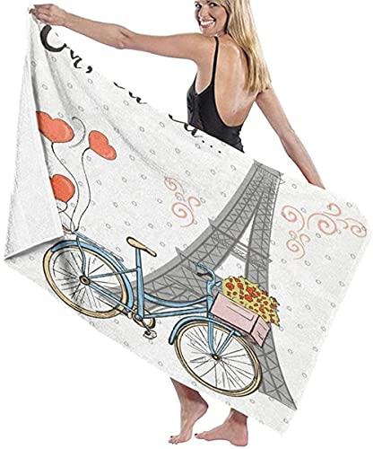 Toalla de Playa Grande 80x130cm,Bicicleta de la Torre Eiffel de Dibujos Animados,Toalla Microfibra,Suave,Absorbente Viaje Toallas de Mano de Hombres,Niños,Natación,Playa,Camping