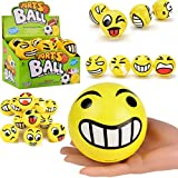 Jumbo Size Emoji Foam Balls | Funny Face Yellow Soft Stress Relief Novelty Big Toy Balls Party Favors (4 Inches)
